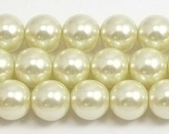 10mm Pastel Yellow Glass Pearls 5 pieces