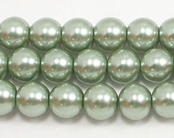 8mm Sage Green Glass Pearls