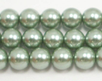 10mm Sage Glass Pearls 5 pieces
