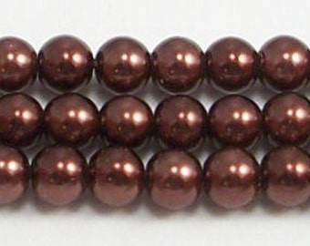 6mm Brown Glass Pearl Beads - One 16 inch strand of Brown glass pearls