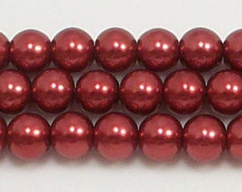 6mm Red Glass Pearl Beads