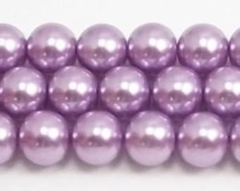 8mm Lavender Glass Pearls 5 pieces