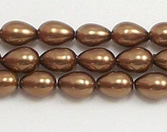 5x7mm Bronze Teardrop Glass Pearl Beads 15.5 inch strand