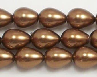 7x9mm Bronze Teardrop Glass Pearl Beads 15.5 inch strand