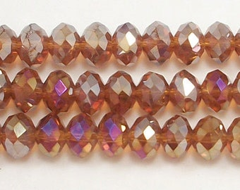 5x8mm Mocha AB Chinese Crystal Rondelle Beads (50)