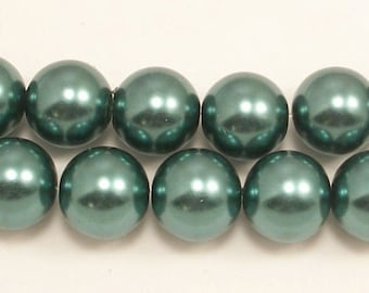 14mm Teal Glass Pearls (12)