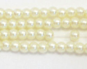 4mm Pastel Yellow glass pearls - 15.5 inch strand