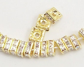 6mm Clear Gold Plated Squaredelles w/Mideast Stones (25)