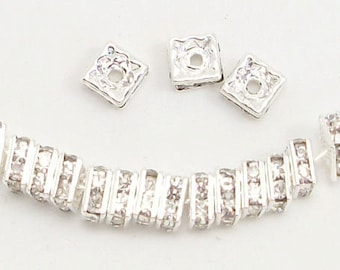 6mm Clear Silver Plated Squaredelles w/Mideast Stones (25)