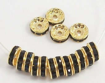 10mm Black and Gold Plated Rhinestone Rondelles w/Mideast Stones (50)