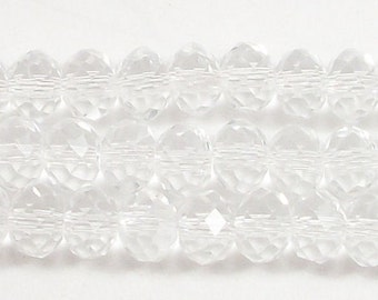 6x8mm Clear Faceted Rondelle Crystal Beads (15)