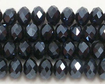 4x6mm Black Diamond Faceted Crystal Rondelle Beads (50 - 100)