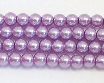 3mm Lavender Glass Pearl Beads 1 strand Grade AAA 3mm Lavender glass pearls