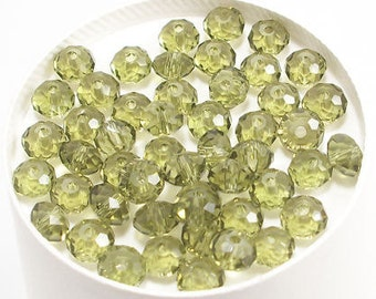 4x6mm Olive Green Faceted Crystal Rondelle Beads