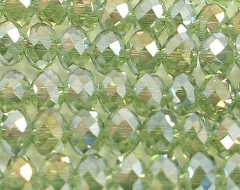 4x6mm Olive Green AB Faceted Crystal Rondelles (100)