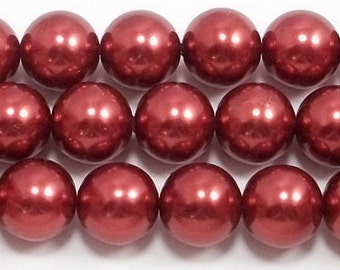 16mm Red Glass Pearls