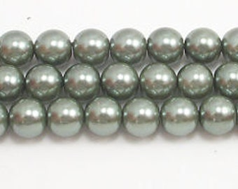 8mm Dark Green Glass Pearls- one strand of 8mm glass pearls-High Quality glass pearls-Swarovski quality at half the price