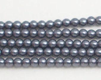 3mm Dark Gray Glass Pearls 1 strand Grade AAA 3mm dark gray glass pearls