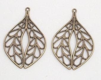 Antique Brass Teardrop Leaf Metal Charms (2)