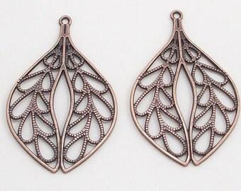 Antique Copper Teardrop Leaf Metal Charms (2)