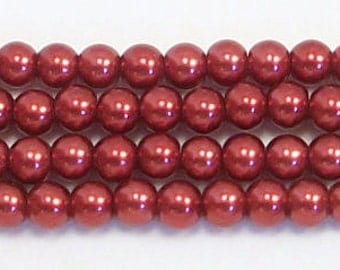 4mm Red glass pearls - 15.5 inch strand