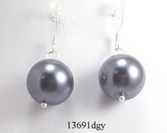 Dark Gray Glass Pearl Earrings