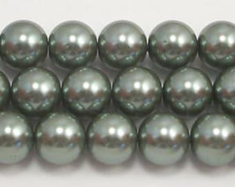 10mm Dark Green Glass Pearls