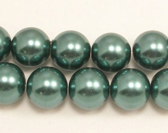 16mm Teal Glass Pearls 15.5 inch strand