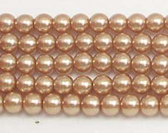 4mm Champagne Glass Pearls 1 strand
