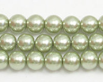 6mm Light Sage Glass Pearl Beads - One 16 inch strand Grade AAA 6mm sage glass pearls