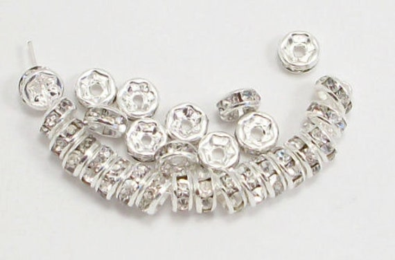 10mm Silver Plated Rhinestone Rondelles w/Middle East Stones (100)