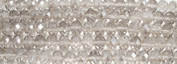 10x14mm Light Gray Faceted Crystal Rondelles Beads (10)