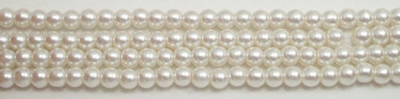 6mm Ivory Glass Pearls - 1 strand
