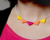 Tribal Triangle Necklace made of wool: Fuschia Pink, Orange and Yellow
