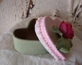 Shabby Chic Heart box shabby Chic Pink and green mini heart box glittered Paper mache gift box Birthday Wish box