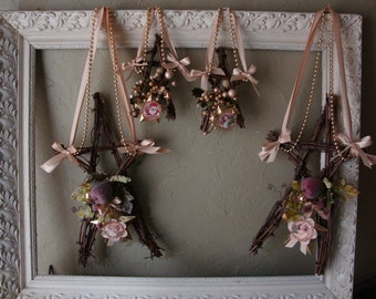 Rustic Christmas grapevine wreath star wall hanging natural twig home decor Cottage Chic victorian angel christmas floral star wreath rustic