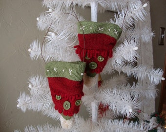 Mini knit hats Christmas ornaments country style home decor red and green sweater hats christmas gifts fabric ornaments