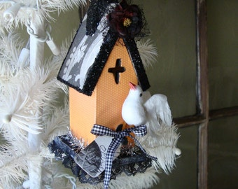 Halloween house ornament Haunted house black orange table decor Wooden bird house ornament Elegant Halloween black white grey and orange