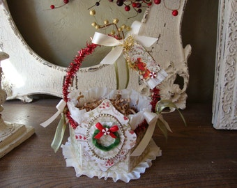 "Christmas Gift wrap box embellished paper mache gift basket with vintage style  floral paper mini wreath and ""do not open until Dec 25th"""
