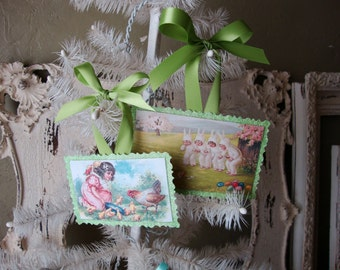 Victorian Easter card ornaments Vintage Style Spring green glitter cute little girls and easter bunnies Farmhouse chic easter decor