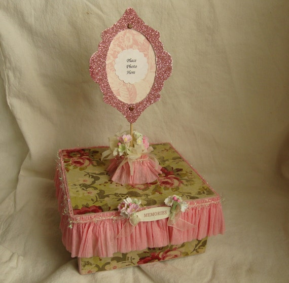 Shabby Chic Box Embellished Photo Frame Gift Box Cottage style Pink Floral Memories Gift Box with handmade pink glittered frame Trinket box
