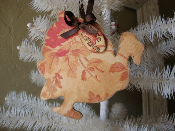 Country style Wooden Turkey ornament with Give Thanks mini sign Fall Floral paper Thanksgiving decor