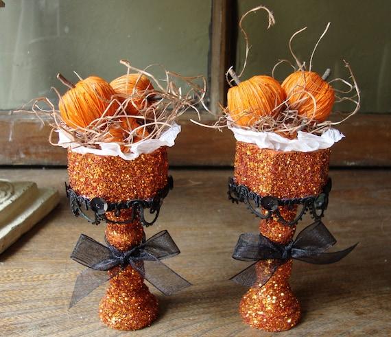 Halloween table decor glittered pedestals orange pumpkins decorations Set of 2 Orange Halloween mini pumpkins on pedestals orange and black