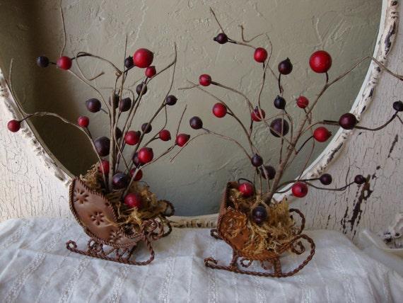 Listing For Kim Poole Santa Sleigh Table Decor Rustic Country