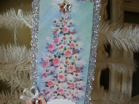 shabby chic pink floral christmas tree  glittered ornament Merry Christmas sign ornament Shabby chic pink and silver tag