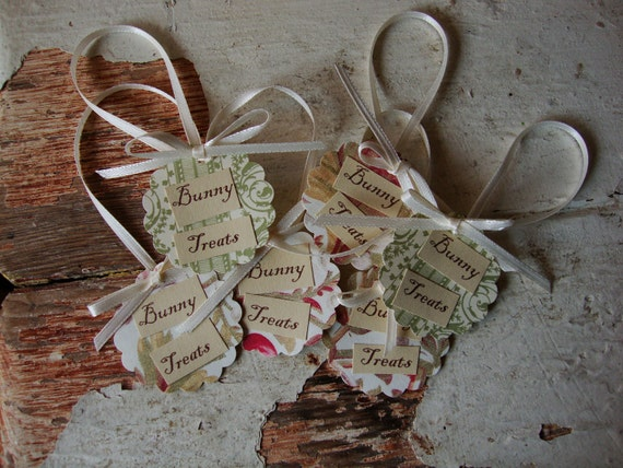 Easter gift tags Bunny Treats Shabby Chic pink and ivory easter paper tags candy party bags floral gift tags Cottage chic easter gift tags