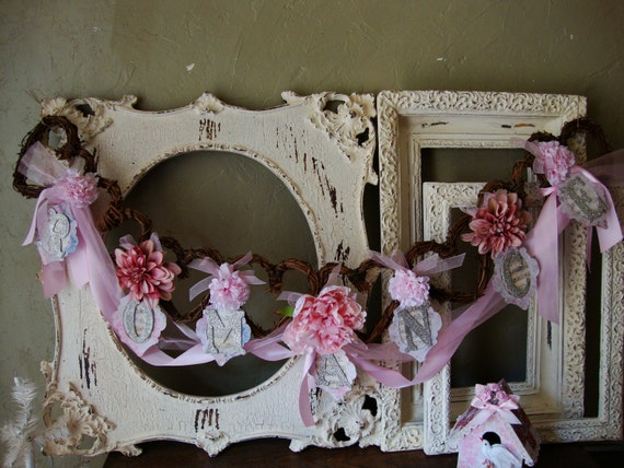 Wedding garland Romance Shabby chic pink floral romantic Grapevine heart wedding decor silver glittered letters cottage style home decor