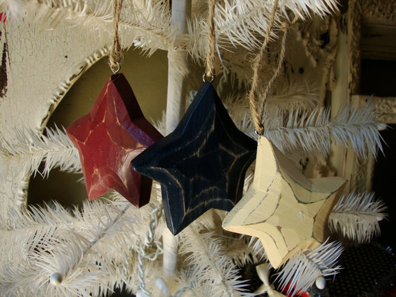 Rustic Wood star ornaments Christmas Country style red ivory blue country patriotic home decor wood star ornaments Cottage Chic
