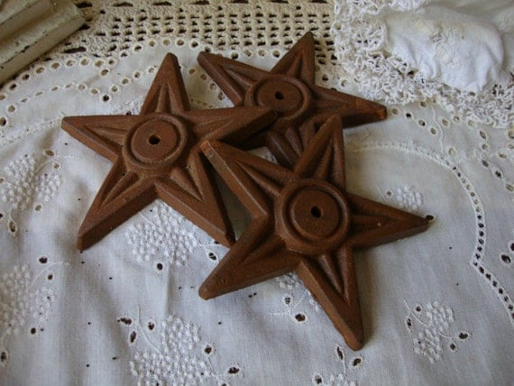 Cast Iron stars Rustic Country metal stars Country Cottage rusted home decor Americana stars