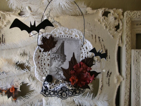 Halloween witch ornament mixed media vintage pretty witch neutral elegant halloween ornament black and white mixed media Whimsical